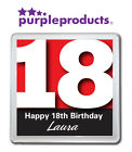PERSONALISED 18th BIRTHDAY DRINKS COASTER GIFT/PRESENT IN 6 COLOURS