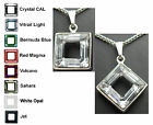 14mm Crystal Square Ring Pendant Necklace Gift made with SWAROVSKI ELEMENTS