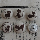 5 Japanese Linen Fabric Covered Sewing Buttons - Chocolate Brown Black - Cat
