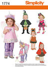 PATTERN SIMPLICITY Fairy Spider Witch Cat Girls 1/2 to 4 Halloween Costume 1774