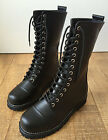 14 Hole Punk Rock Biker Engineer Vegan Faux Leather Boots Maroon Mahogany