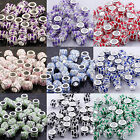 Wholesale 9-Color Enamel Crystal Silver Plated Tube Loose Charms Bead Findings