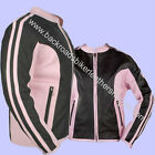 Ladies Black & Pink Cowhide Leather Racer Style Biker Jacket – Sizes XS-4X