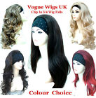 Ladies 3/4 Wig Half Wig Clip In Hair Piece Half Wig Black Brown Blonde Wigs