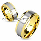 Custome Engraved Stainless Steel & Gold Name Ring BCSS-M4586
