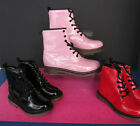 Girls Cutie Qt Pink Glitter/Black/Red Patent Lace Up Ankle Boots  H3014