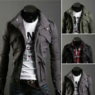 Men's Military Slim Line Jacket Coat Rider Zip/button Hoody 4SIZE 3COLOR S0952