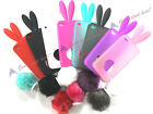 New Bunny RABBIT RUBBER TPU Skin Case Cover W/Tail For Iphone 4 4G 4gs 8 Colors