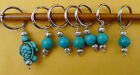 Stitch marker, knitting 6+1 units.  turquoise  beads, round and turtle