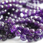 "Semi Precious Gemstone Amethyst  Faceted Round Beads 15"" Strand 6mm, 8mm Grade A"