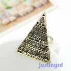 Antiqued Gothic Punk Pyramid Taper Geometrical Triangle Ring Adjustable 2 Colors
