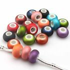New Mixed Oblate Frosted Colorful Acrylic Charms European Bead Fit Bracelet 14mm