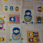 1 Meter Cotton Linen Blend Fabric - Russian Doll - Red Purple Latte - 110cm Wide