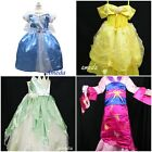 GIRLS DELUXE PRINCESS BELLE CINDERELLA TIANA FROG PARTY DRESS COSTUME 3-8Y