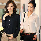 New Women's Business Casual Slim Fit Stylish Long Sleeve Shirt M L XL 3 Colors Z