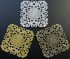 LARGE SQUARE LIGHTWEIGHT THIN BRASS FILIGREE STAMPINGS 40mm x 40mm