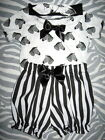 New Baby Girls,Black,white,Pink Zebra,Stripes,Spots,pelican T-shirt,Bloomers Set