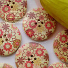 Flower World 30mm Wood Buttons Sewing Scarpbooking Craft Cardmaking A011