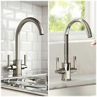 Modern Kitchen Sink Tap Swivel Spout Brass Monobloc Chrome Brushed Steel Faucet