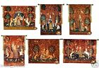 The Lady and Unicorn 13 pcs set WALL HANGING TAPESTRY Free TASSELS Free Shipping