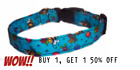 SPIFFY POOCHES Dog Cat Collar Turquoise Bees ~BUY ONE GET ONE HALF PRICE~