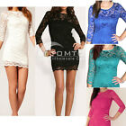 Women Lace Dress Sexy Slash Neck Mini Pencil Bodycon Cocktail Party Dress 4Color
