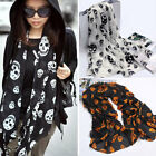 Women Ladies Small Large Skull Skeleton Chiffon Print Wrap Shawl Scarf Stole