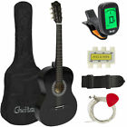 New Beginners Acoustic Guitar w/ Guitar Case, Strap, Tuner and Pick (Black)