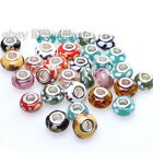Hot Wholesale Round Colorful Lampwork Charms Spacer Beads Fit European Bracelets