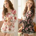 Women Girl Lace Floral Long Sleeve Slim Tunic Peplum Top Shirt Blouse Mini Dress