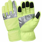 Hi-Vis Green Reflective Water Proof Insulated Gloves With Rubber Fingertips