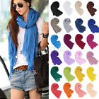 New Women Girls Pure Candy Colour Crinkle Long Soft Scarf Wrap Shawl Stole