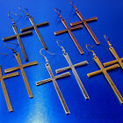 FUNKY LARGE CROSS DROP EARRINGS BIG RELIGIOUS PUNK GOTH GIRL BOHO EMO ROCK CHICK