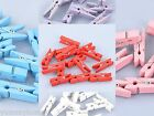 20 Mini Wooden Craft Pegs / Photo Clips, 35mm choose colour