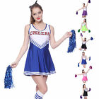 HIGH SCHOOL MUSICAL CHEER LEADER GIRL UNIFORM COSTUME OUTFIT W/ POM POMS