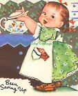 Charlot Byj Little Girl Saving for a Rainy Day Fabric Block Choose 8x10 or 5x7