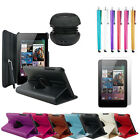 Leather Rotating Case - LCD Screen Protector - Speakers For Asus Google Nexus 7