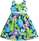 Girls Dress Blue Belt Flower Print Party Kids Sundress Size 2-10 NWT