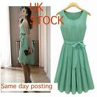 Chic Womens Sleeveless Vest Pleated Skirt Chiffon Casual Green Dress UK- 8 10 12
