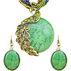 Vintage Look Millet Chain Crystal Peacock Pendant Necklace Earrings Jewelry Sets