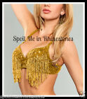 Gold Bra sequin bead Fringe Small Medium Large xLarge belly dance A B C D cup