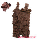 Newborn Baby Girls Brown Lace Petti Posh Rompers Straps Huge Bow Headband 2pc