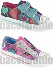 GIRLS KIDS JEWEL GLITTER PUMPS PLIMSOLES VELCRO CANVAS TRAINERS SHOES SIZE 10-2