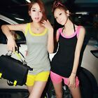 Korea Woman's CONTRAST COLOR Casual Sports Two-piece Set Suits Vest and Shorts