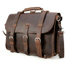 "Large Cool Vintage Bull Leather Backpack Saddle Bag 17"" Laptop Tote Mens Luggage"