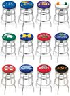 Choose NCAA K-O Team L7C3C Chrome Double-Ring Bar Stool w / Ribbed Accent Ring
