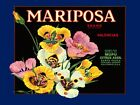 Crate Label Mariposa Valencias Flowers California Vintage Poster Repro FREE S/H