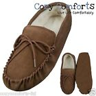 Genuine Suede Sheepskin Moccasin Slipper with Wool Lining & Suede Sole in Camel