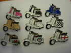 Lambretta motor scooter pin badge. 6 variations. Red. Blue. Roundell. St.George