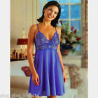 Plus Size Lingerie 1X  2X  3X Cobalt Chemise with Cross Dyed Lace Bodice  6388X